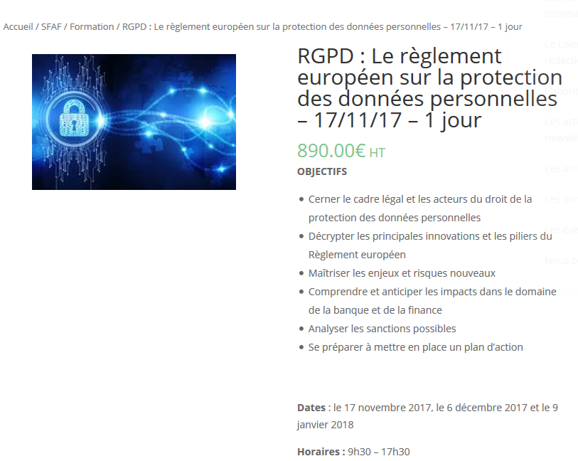 Achat formation RGPD